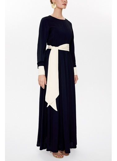 Societa Kontrast Renk Kombinli Uzun Elbise 93025 Siyah